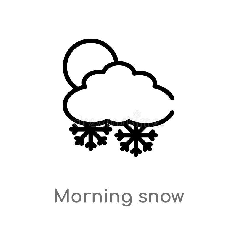 konturu ranku śnieżna wektorowa ikona odosobniona czarna prosta kreskowego elementu ilustracja od pogodowego pojęcia Editable wek ilustracja wektor
