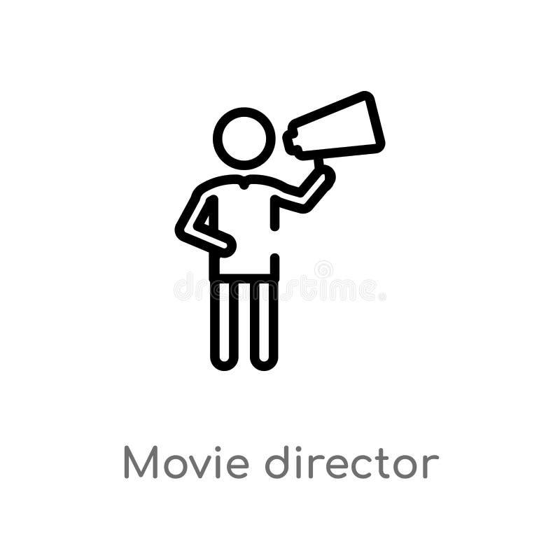 konturu reżysera filmowego wektoru ikona odosobniona czarna prosta kreskowego elementu ilustracja od ludzi pojęć Editable wektoro ilustracji