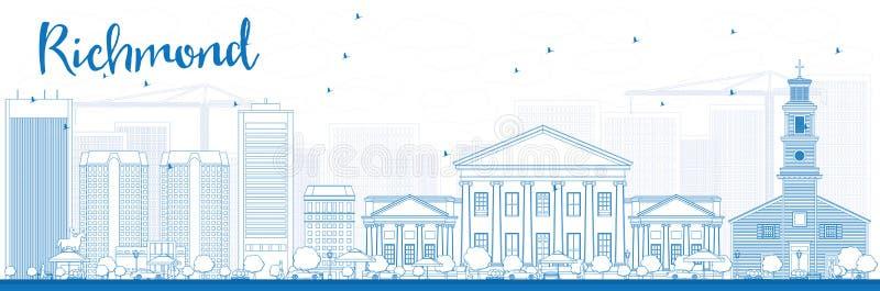 Konturu Richmond linia horyzontu z Błękitnymi budynkami (Virginia) ilustracja wektor