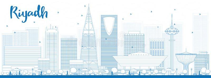 Konturu Riyadh linia horyzontu z błękitnymi budynkami ilustracja wektor