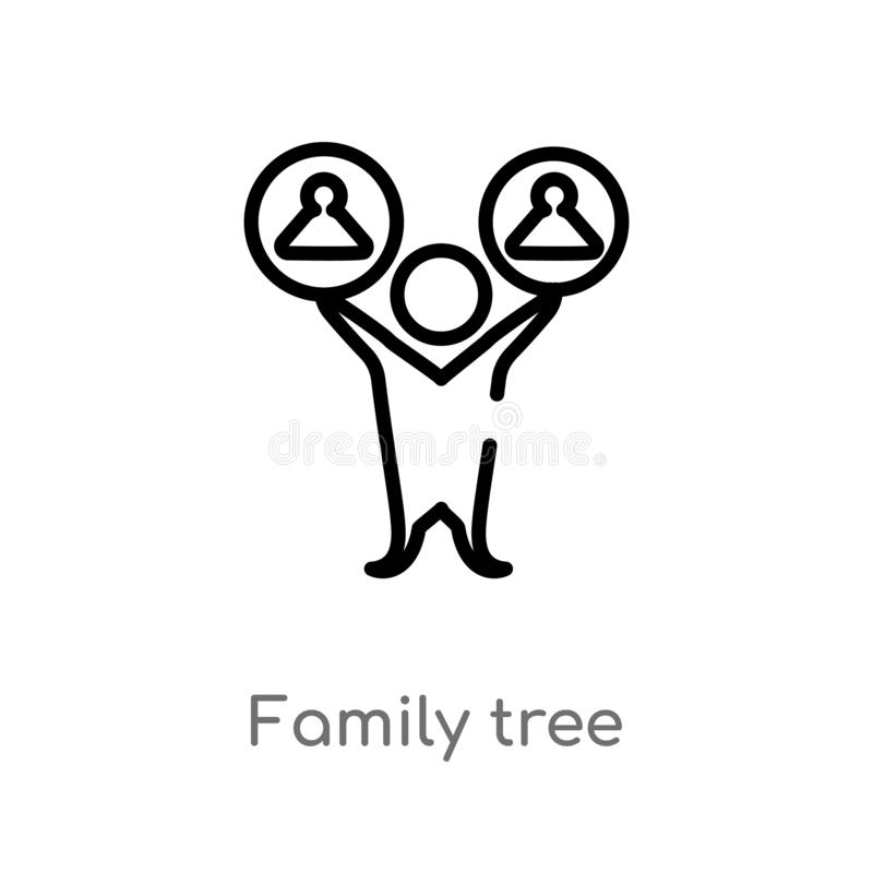 konturu rodzinnego drzewa wektoru ikona odosobniona czarna prosta kreskowego elementu ilustracja od ludzi poj?? Editable wektorow royalty ilustracja