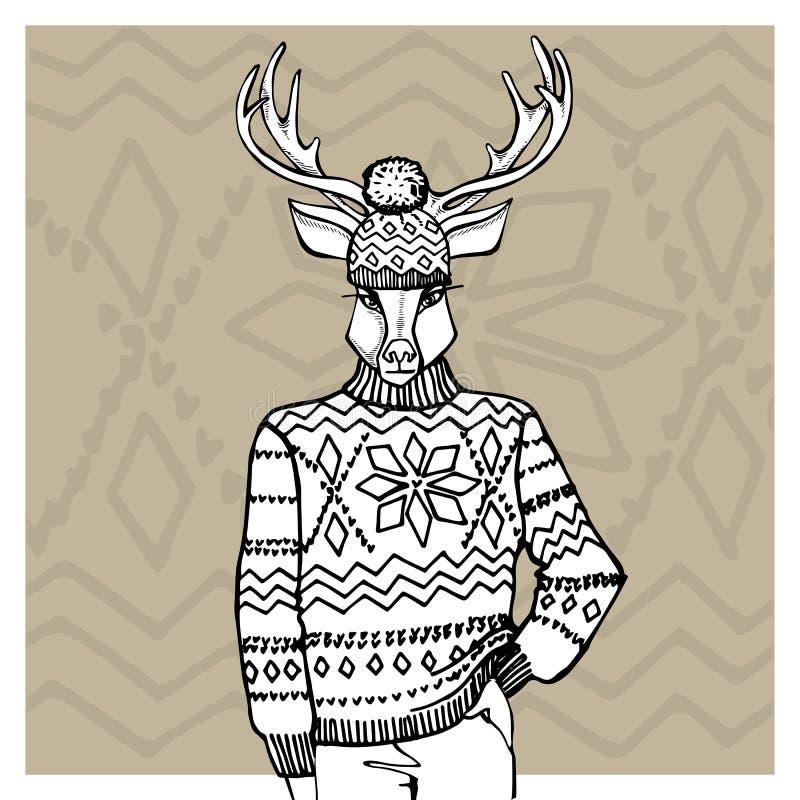 Konturu rogacz w Jacquard kapeluszu, pulower Zima royalty ilustracja