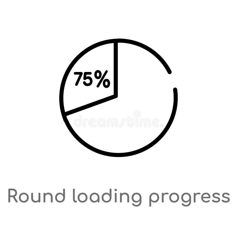 konturu round ładowania postępu wektoru ikona odosobniona czarna prosta kreskowego elementu ilustracja od interfejs użytkownika p ilustracja wektor