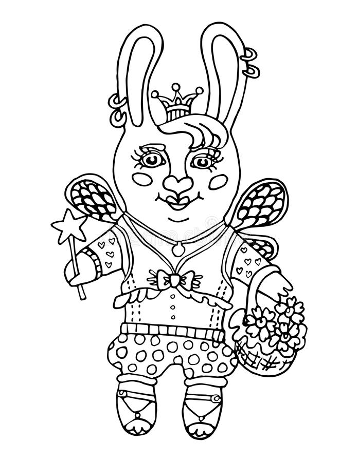 Konturu rysunek śliczna królik dziewczyny czarodziejka w princess koronie i magicznym różdżki postać z kreskówki na odosobnionym  ilustracja wektor