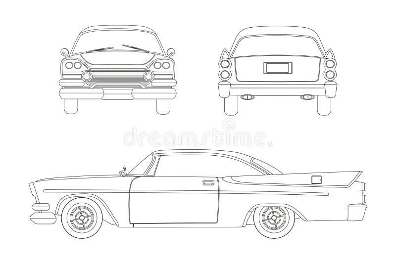 Konturu rysunek retro samochód Rocznika kabriolet Przód, strona i tylny widok, ilustracji
