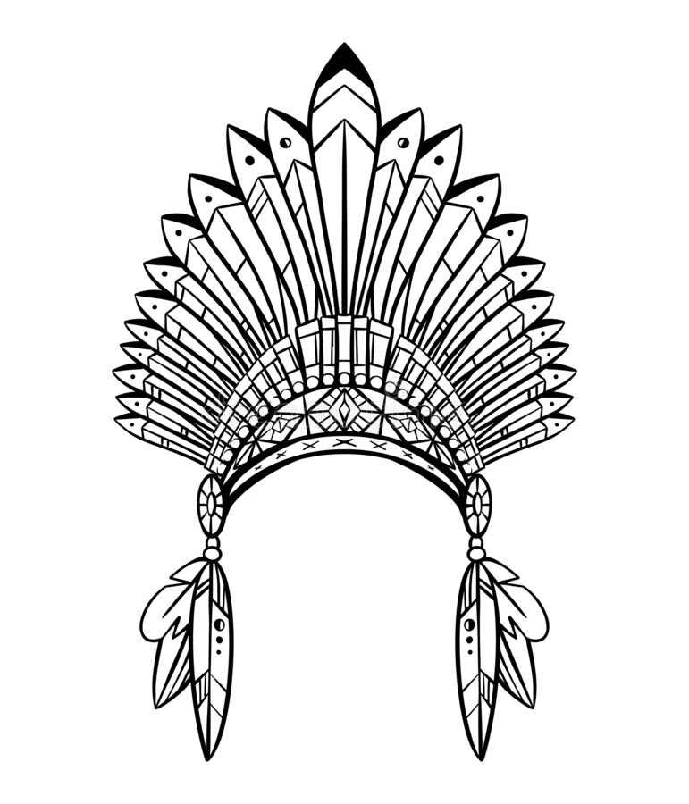 Konturu rysunek rodzima nakr?tka indianin z pi?rkami i dekoracjami kostiumowy plemienny ilustracja wektor