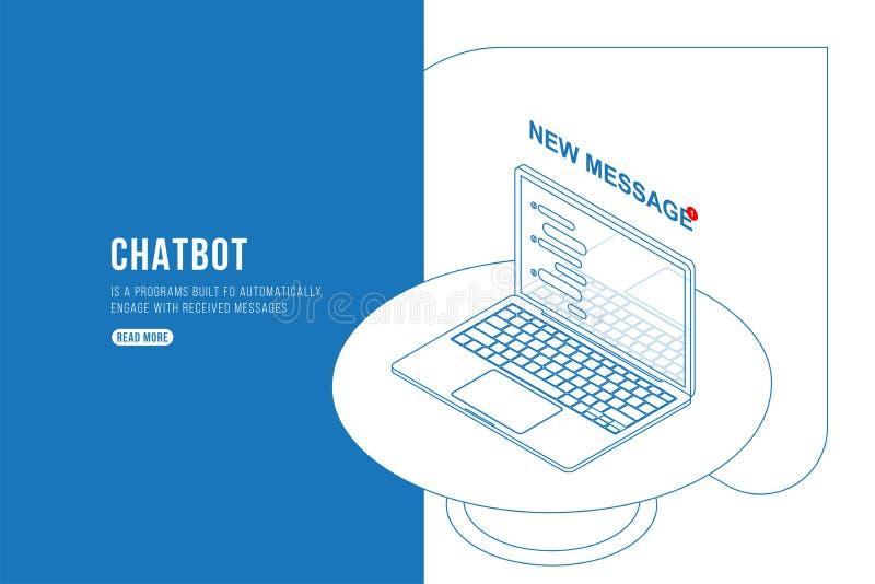 Konturu rysunku Chatbot Isometric pojęcie z nowymi wiadomościami i wystrzału gawędzenie na laptopie Mieszkania 3d isometric ilust ilustracja wektor