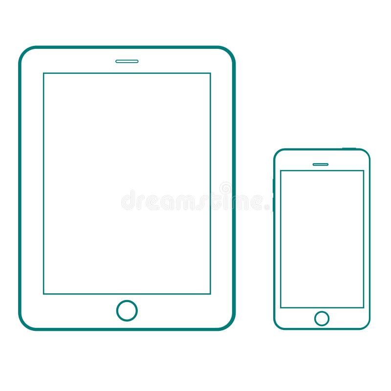 Konturu rysunku pastylki i smartphone nowożytny set Elegancki Cienki kreskowego stylu projekt royalty ilustracja