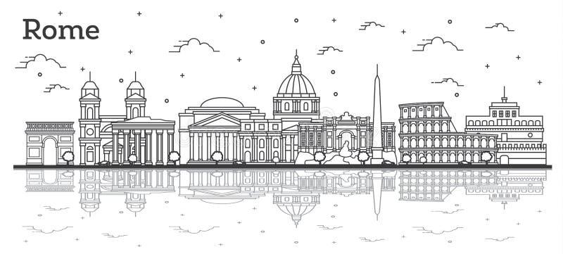 Konturu Rzym Włochy miasta linia horyzontu z Historycznymi budynkami i odbiciami Odizolowywającymi na bielu ilustracja wektor