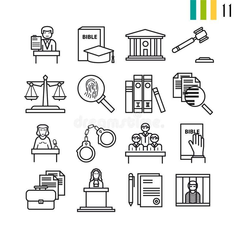Konturu sądownictwa ikony ilustracji