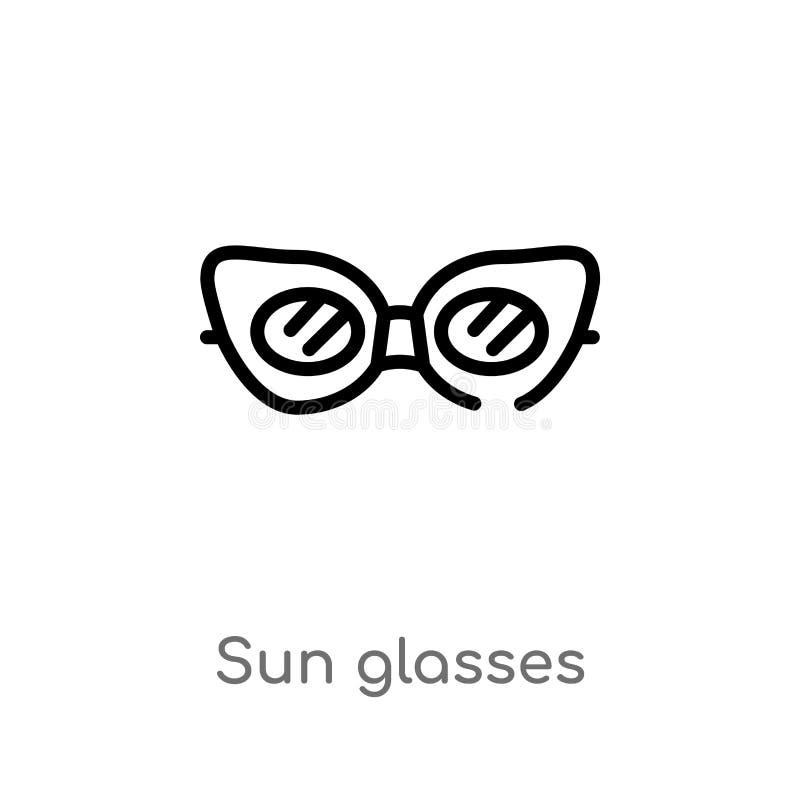 konturu słońca szkieł wektoru ikona odosobniona czarna prosta kreskowego elementu ilustracja od brazilia poj?cia editable wektoro ilustracja wektor