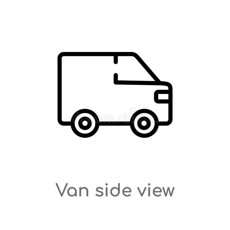 konturu samochodu dostawczego bocznego widoku wektoru ikona odosobniona czarna prosta kreskowego elementu ilustracja od mechanico ilustracja wektor