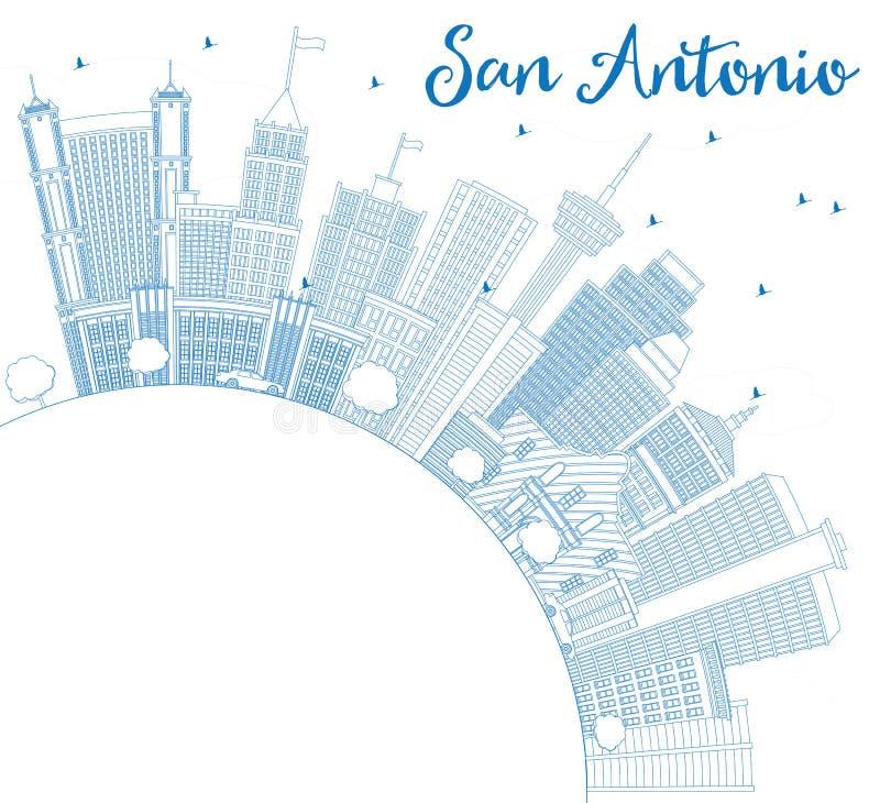 Konturu San Antonio linia horyzontu z Błękitną kopii przestrzenią i budynkami ilustracji
