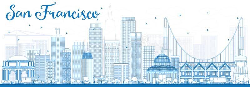Konturu San Fransisco linia horyzontu z Błękitnymi budynkami ilustracji