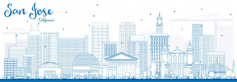 Konturu San Jose Kalifornia linia horyzontu z Błękitnymi budynkami ilustracji