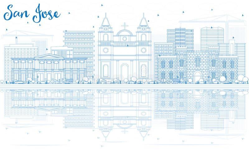 Konturu San Jose linia horyzontu z Błękitnymi odbiciami i budynkami royalty ilustracja