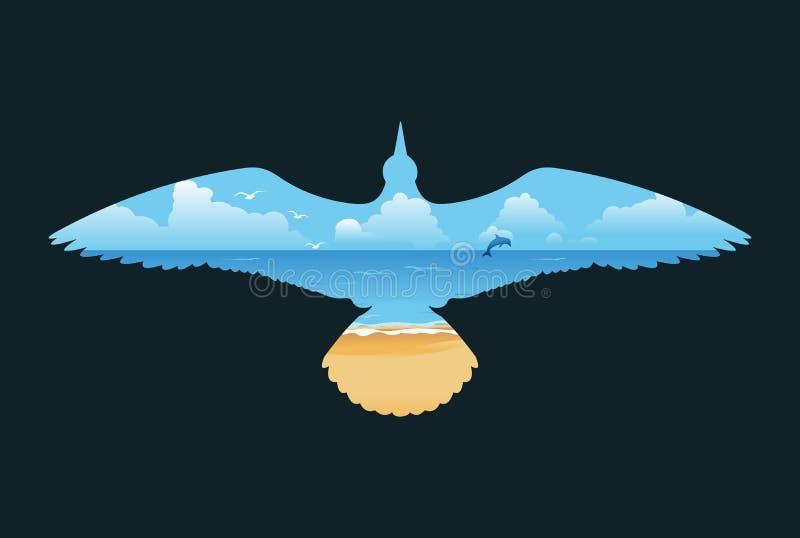 Konturu seagull w locie z morze plażą ilustracji