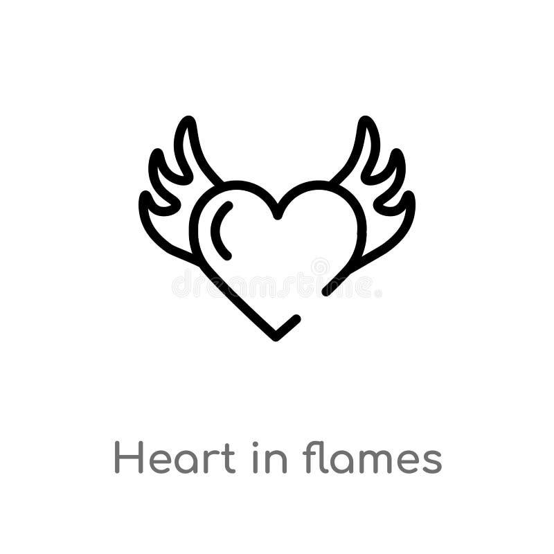 konturu serce w p?omienia wektoru ikonie odosobniona czarna prosta kreskowego elementu ilustracja od og?lnego poj?cia Editable we ilustracja wektor