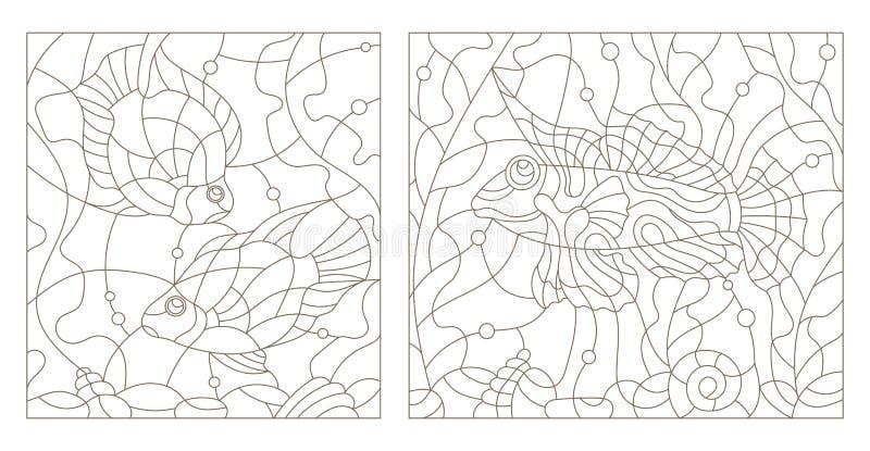 Konturu set ilustracje witraż z akwarium ryba royalty ilustracja