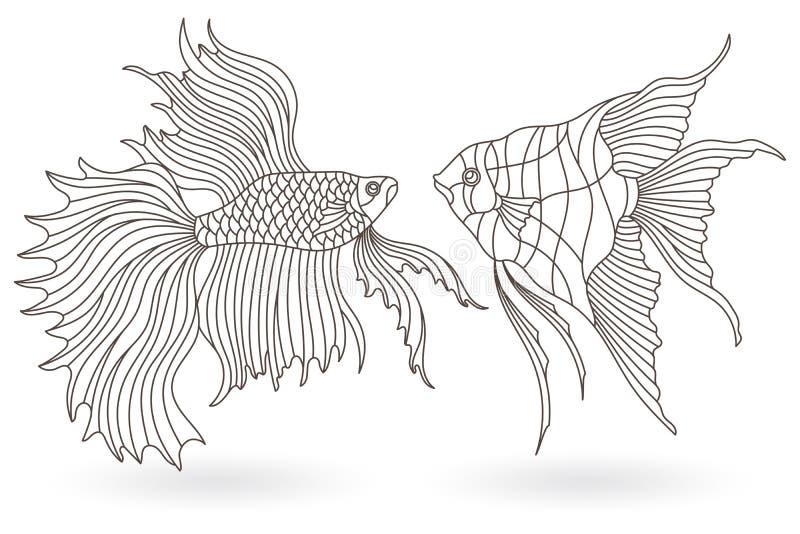 Konturu set z ilustracjami witraż Windows z akwarium rybą, angelfish i Cockerel, łowimy, zmrok kontury na bielu ilustracji