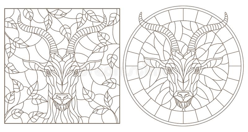 Konturu set z ilustracjami witraż Windows z kózki głową, round i prostokątny wizerunek, zmrok kontury na whit ilustracji