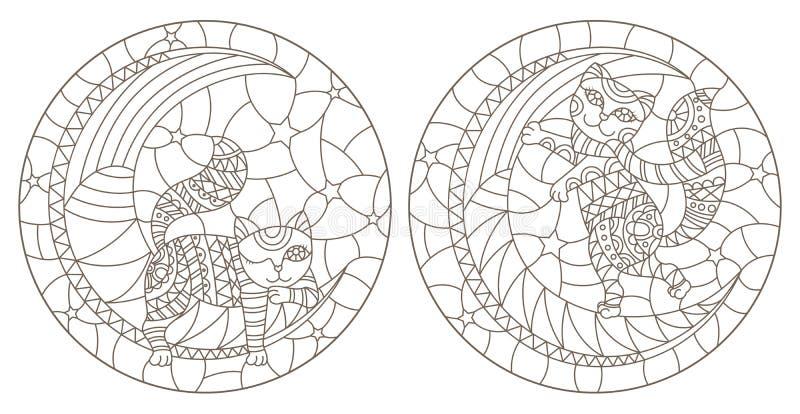 Konturu set z ilustracjami witraż Windows z kreskówką koci się na księżyc przeciw gwiaździstemu niebu, zmrok kontury o royalty ilustracja