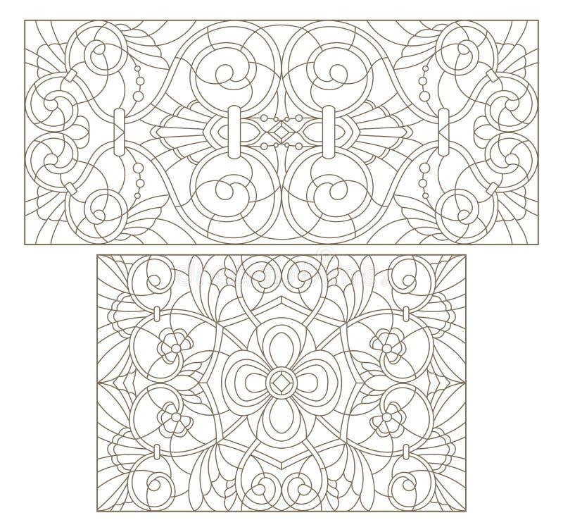 Konturu set z ilustracjami witraż z abstraktem wiruje i kwiaty, horyzontalna orientacja ilustracja wektor