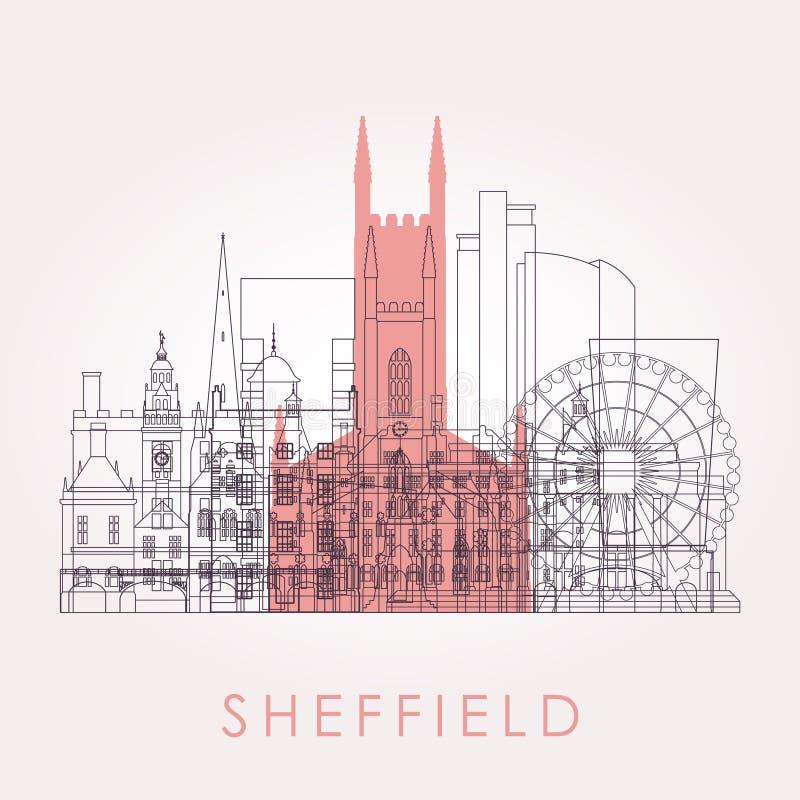 Konturu Sheffield linia horyzontu z punktami zwrotnymi ilustracji