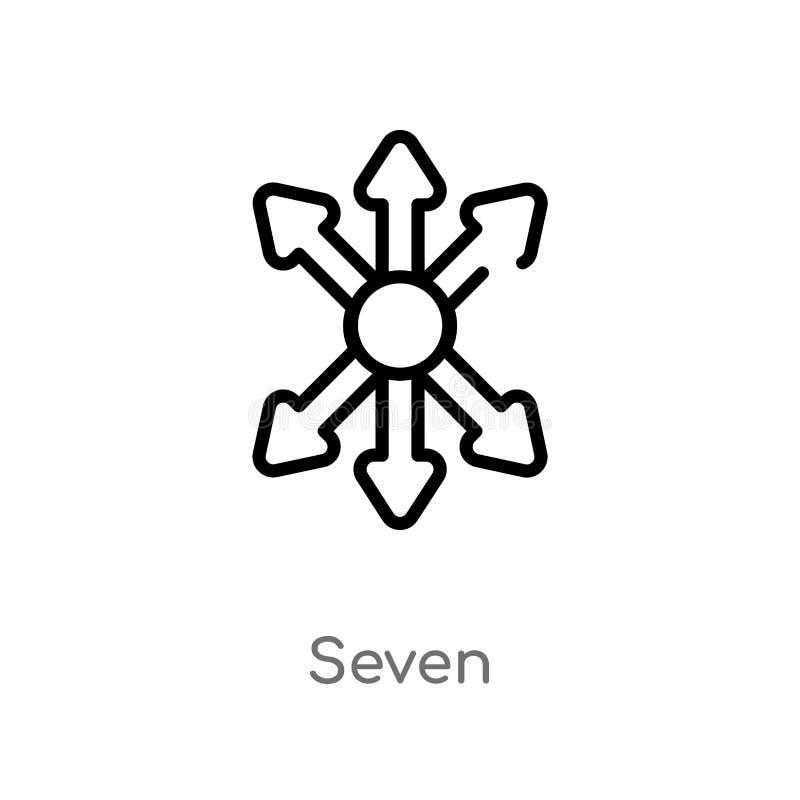 konturu siedem wektoru ikona odosobniona czarna prosta kreskowego elementu ilustracja od orientacji pojęcia editable wektorowy ud royalty ilustracja