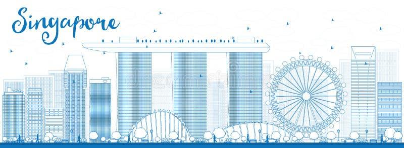 Konturu Singapur linia horyzontu z błękitnymi punktami zwrotnymi ilustracji