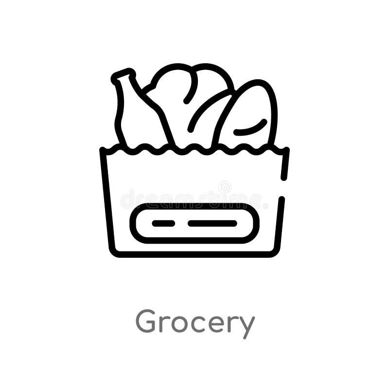 konturu sklepu spożywczego wektoru ikona odosobniona czarna prosta kreskowego elementu ilustracja od handlu pojęcia editable wekt ilustracji