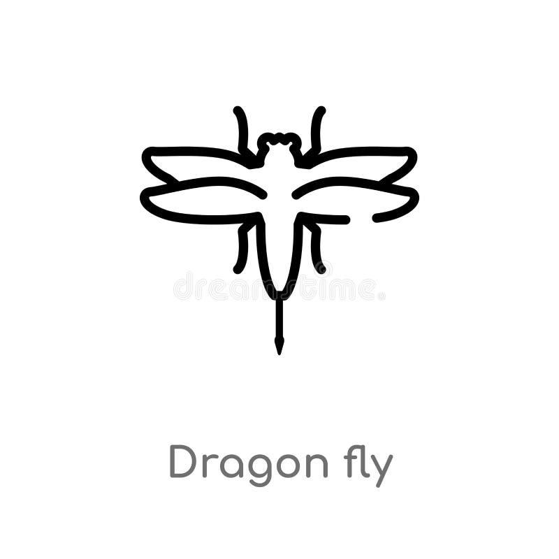 konturu smoka komarnicy wektoru ikona odosobniona czarna prosta kreskowego elementu ilustracja od zwierzęcia pojęcia Editable wek ilustracja wektor