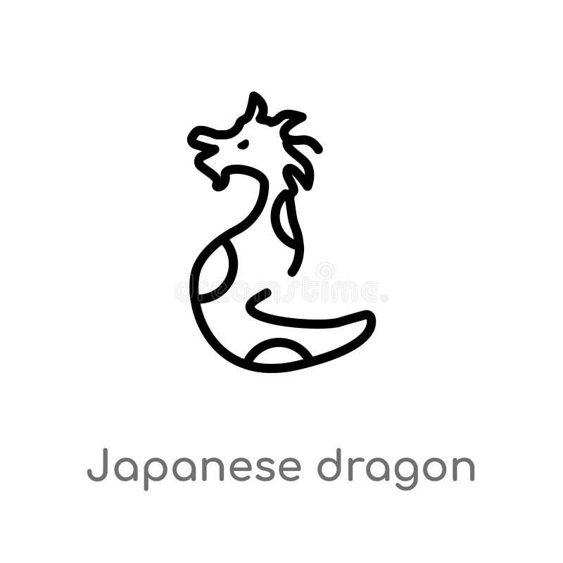 konturu smoka wektoru japońska ikona odosobniona czarna prosta kreskowego elementu ilustracja od zwierz?cia poj?cia Editable wekt ilustracja wektor