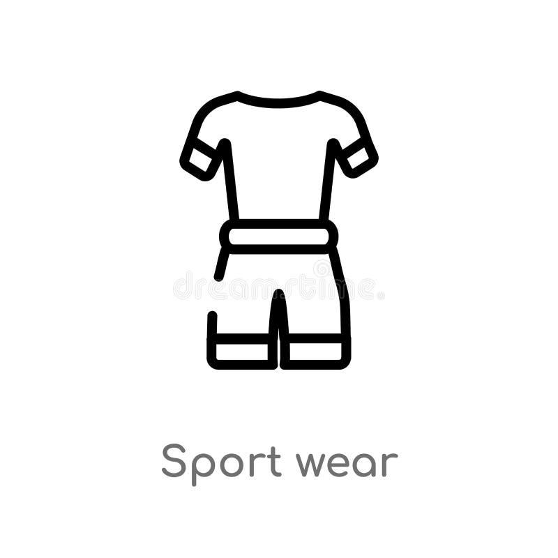 konturu sporta odzieży wektoru ikona odosobniona czarna prosta kreskowego elementu ilustracja od gym i sprawności fizycznej pojęc ilustracja wektor