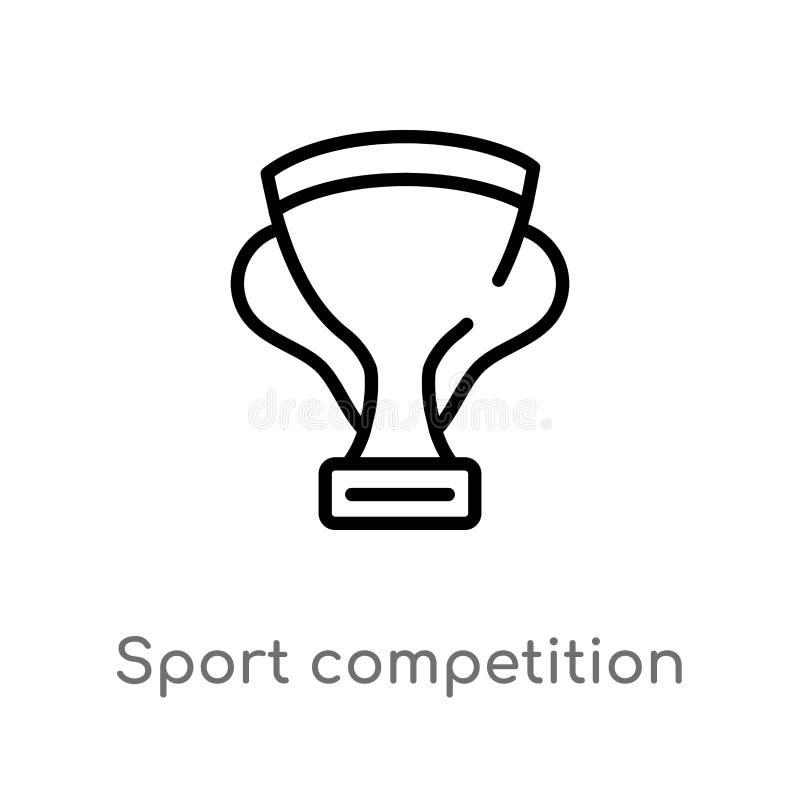 konturu sporta rywalizacji filiżanki wektoru ikona odosobniona czarna prosta kreskowego elementu ilustracja od marketingowego poj royalty ilustracja
