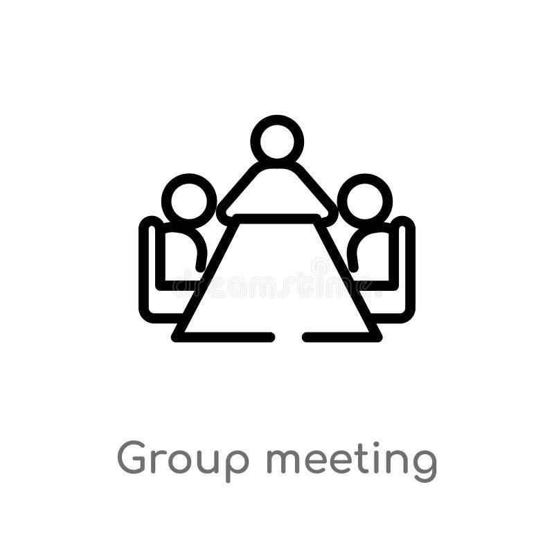 konturu spotkania grupowego wektoru ikona odosobniona czarna prosta kreskowego elementu ilustracja od ludzi pojęć Editable wektor ilustracja wektor