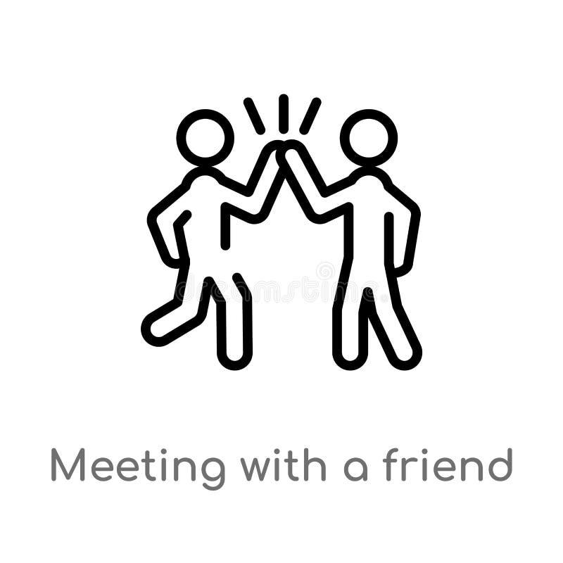 konturu spotkanie z przyjaciela wektoru ikoną odosobniona czarna prosta kreskowego elementu ilustracja od aktywno?ci i hobby poj? ilustracji