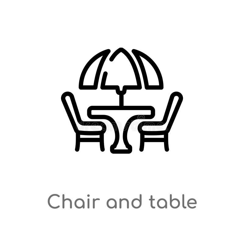 konturu sto?u i krzes?a wektoru ikona odosobniona czarna prosta kreskowego elementu ilustracja od miasto element?w poj?cia Editab ilustracja wektor