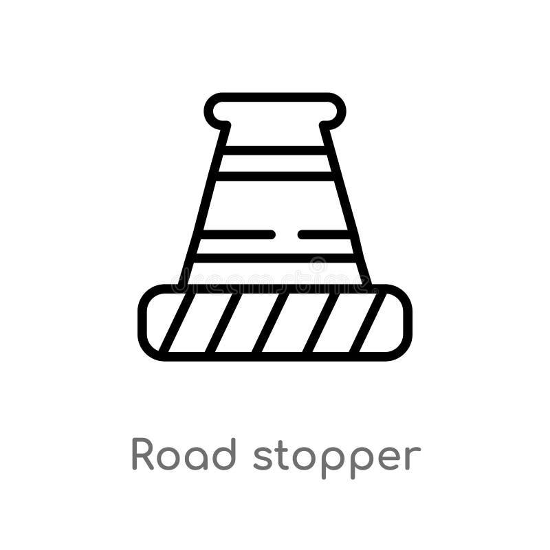 konturu stopper wektoru drogowa ikona odosobniona czarna prosta kreskowego elementu ilustracja od budowy poj?cia Editable wektor royalty ilustracja