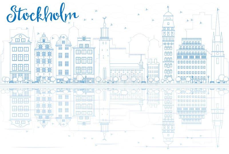 Konturu Sztokholm linia horyzontu z Błękitnymi odbiciami i budynkami ilustracji