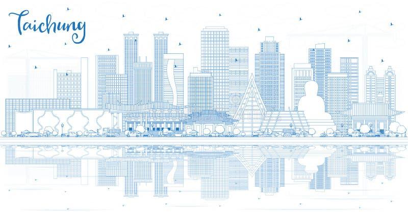 Konturu Taichung miasta Tajwański linia horyzontu z Błękitnymi odbiciami i budynkami ilustracja wektor