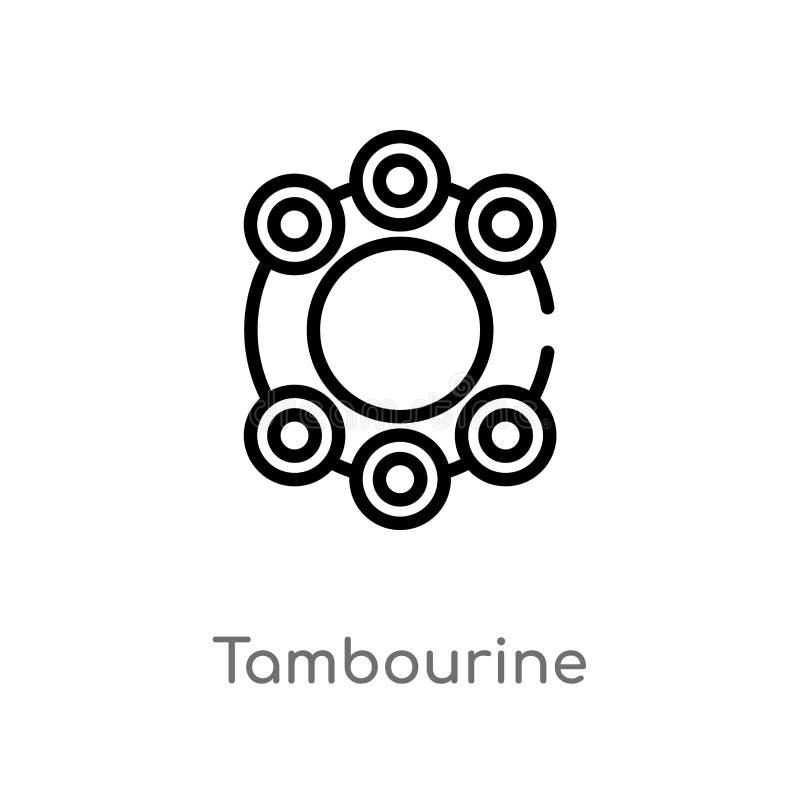 konturu tambourine wektoru ikona odosobniona czarna prosta kreskowego elementu ilustracja od brazilia poj?cia Editable wektorowy  royalty ilustracja