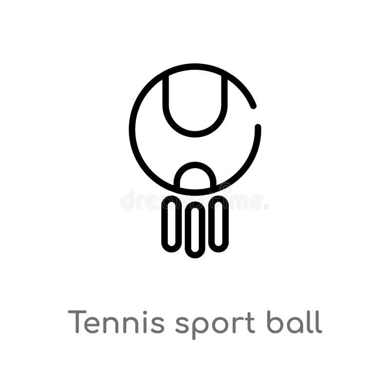 konturu tenisowego sporta balowa wektorowa ikona odosobniona czarna prosta kreskowego elementu ilustracja od sporta pojęcia Edita royalty ilustracja