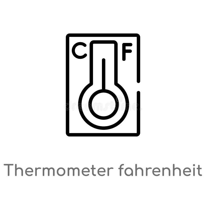 konturu termometr Fahrenheit i celsius wektorowa ikona odosobniona czarna prosta kreskowego elementu ilustracja od pomiaru pojęci royalty ilustracja