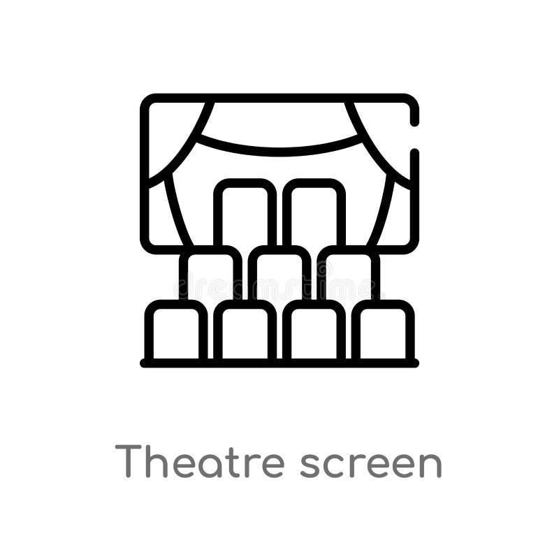konturu theatre ekranu wektoru ikona odosobniona czarna prosta kreskowego elementu ilustracja od kinowego poj?cia Editable wektor ilustracji