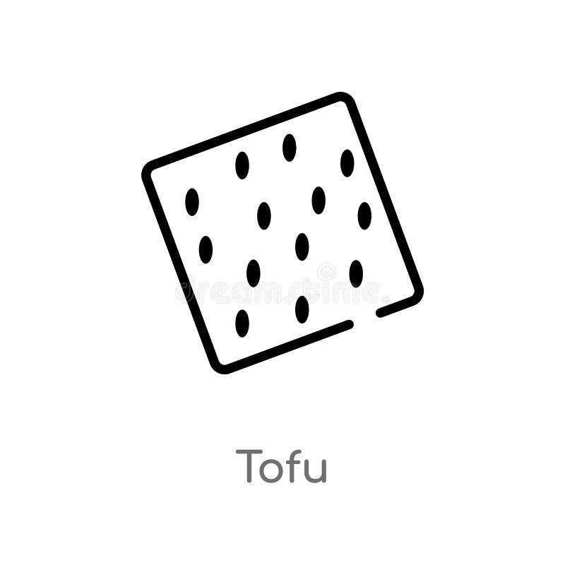konturu tofu wektoru ikona odosobniona czarna prosta kreskowego elementu ilustracja od karmowego i restauracyjnego pojęcia Editab ilustracja wektor