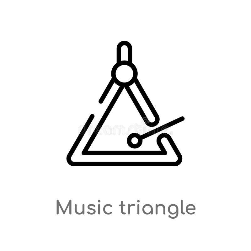konturu tr?jboka wektoru muzyczna ikona odosobniona czarna prosta kreskowego elementu ilustracja od muzycznego poj?cia Editable w ilustracja wektor