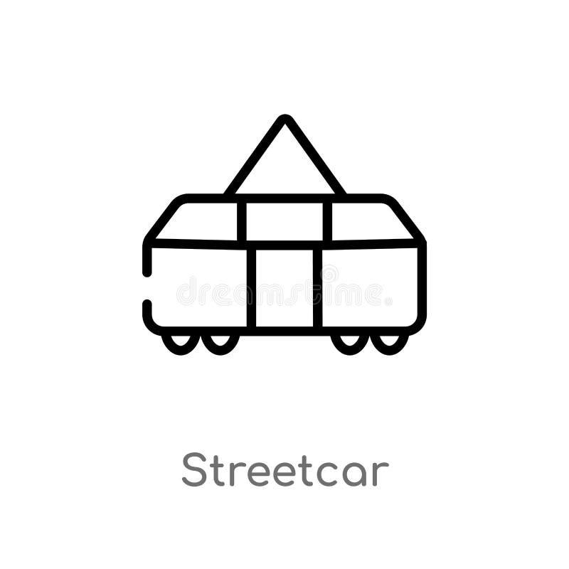 konturu tramwaju wektoru ikona odosobniona czarna prosta kreskowego elementu ilustracja od przewiezionego poj?cia Editable wektor ilustracja wektor