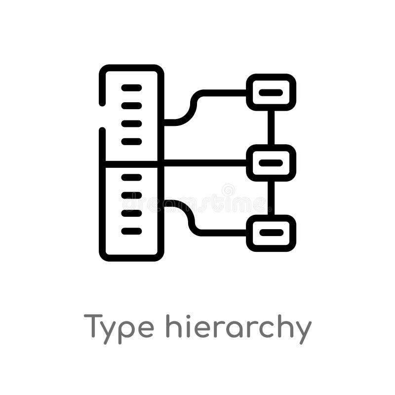 konturu typ hierarchia wektoru ikona odosobniona czarna prosta kreskowego elementu ilustracja od technologii poj?cia Editable wek ilustracja wektor