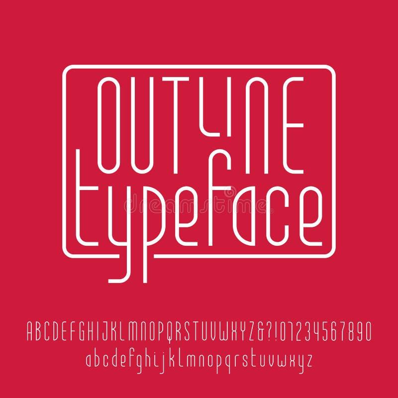 Konturu typeface Nowożytny kreskowy abecadło ilustracji